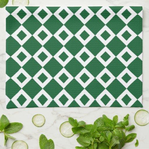 Modelo verde y blanco del diamante toallas de mano
