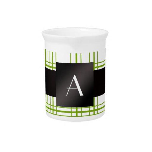 Modelo verde y blanco del monograma de la tela esc jarra