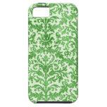 Modelo verde y blanco del papel pintado del damasc iPhone 5 Case-Mate cobertura
