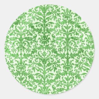 Modelo verde y blanco del papel pintado del damasc pegatina redonda