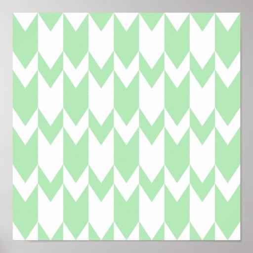 Modelo verde y blanco en colores pastel de Chevron Poster