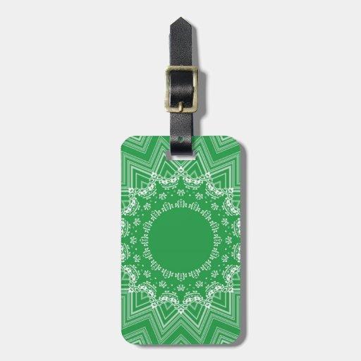 Modelo verde y blanco etiquetas para maletas