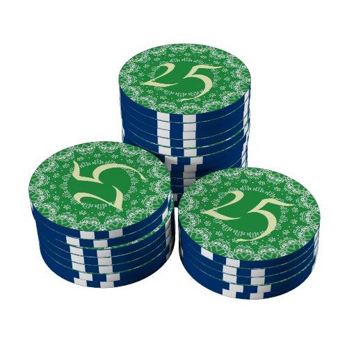 Modelo verde y blanco fichas de póquer
