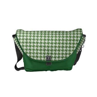 Modelo verde y blanco texturizado de Houndstooth Bolsa De Mensajeria