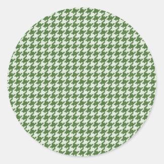 Modelo verde y blanco texturizado de Houndstooth Etiqueta Redonda