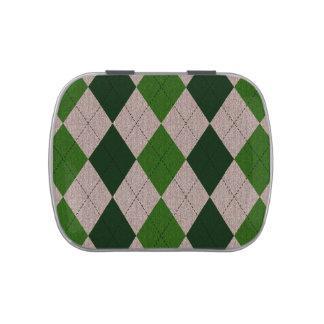 Modelo verde y gris de Argyle Frascos De Dulces