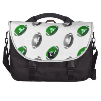 Modelo verde y gris/de plata del fútbol bolsas de ordenador
