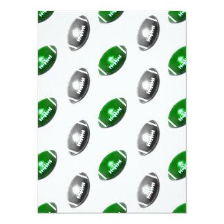 """Modelo verde y gris/de plata del fútbol invitación 5.5"""" x 7.5"""""""