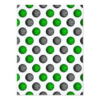 """Modelo verde y gris del baloncesto invitación 5.5"""" x 7.5"""""""
