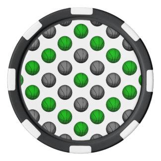 Modelo verde y gris del baloncesto juego de fichas de póquer