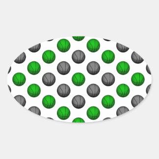 Modelo verde y gris del baloncesto pegatinas ovaladas personalizadas
