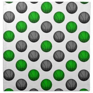 Modelo verde y gris del baloncesto servilleta imprimida
