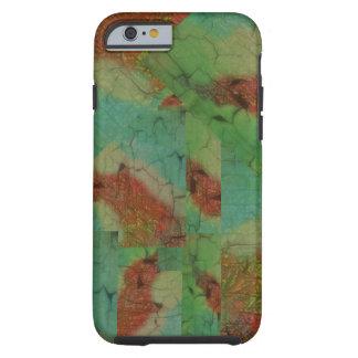Modelo verde y marrón de la turquesa de mosaico funda para iPhone 6 tough