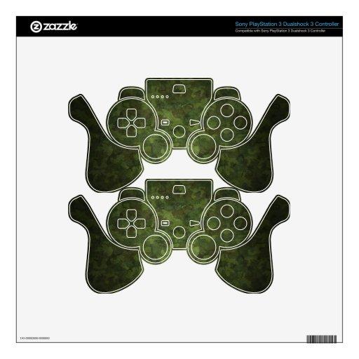 modelo verde y marrón del camuflaje mando PS3 skin