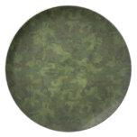 modelo verde y marrón del camuflaje plato de comida
