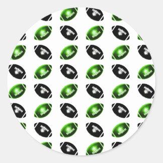 Modelo verde y negro brillante del fútbol pegatina redonda