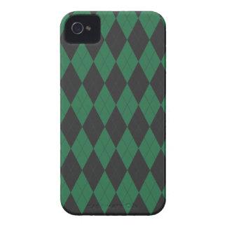 Modelo verde y negro de Argyle iPhone 4 Case-Mate Carcasas