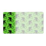 Modelo verde y negro de la bicicleta etiqueta de envío