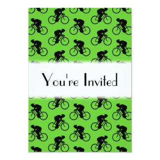 """Modelo verde y negro de la bicicleta invitación 5"""" x 7"""""""