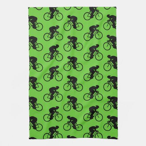 Modelo verde y negro de la bicicleta toallas de mano