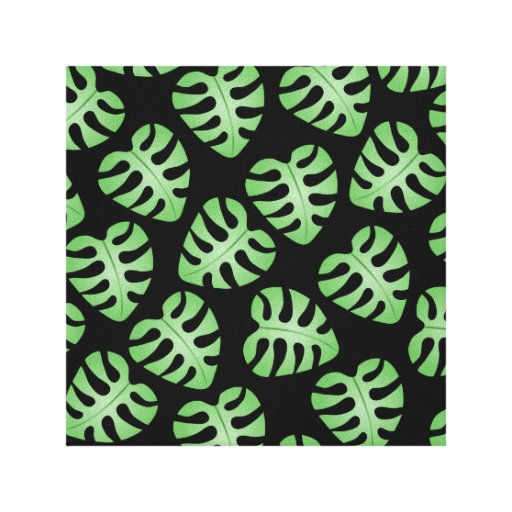 Modelo verde y negro de la hoja impresión de lienzo