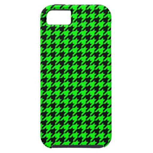 Modelo verde y negro de neón clásico de Houndstoot iPhone 5 Protectores