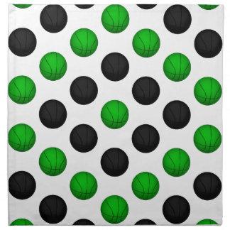 Modelo verde y negro del baloncesto servilletas