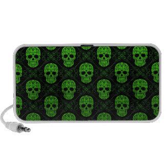Modelo verde y negro del cráneo del azúcar laptop altavoces