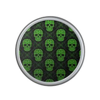 Modelo verde y negro del cráneo del azúcar altavoz bluetooth