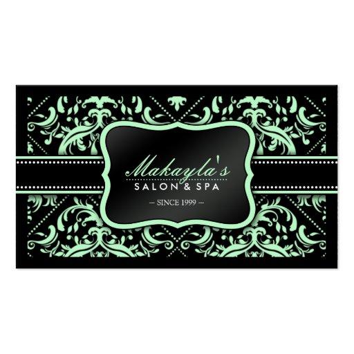 Modelo verde y negro en colores pastel elegante tarjeta de visita