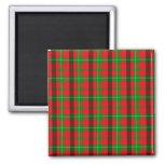 Modelo verde y rojo de la tela escocesa imán cuadrado