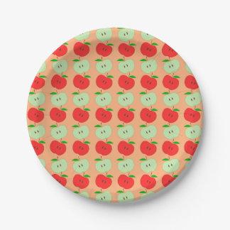 Modelo verde y rojo de las manzanas plato de papel de 7 pulgadas