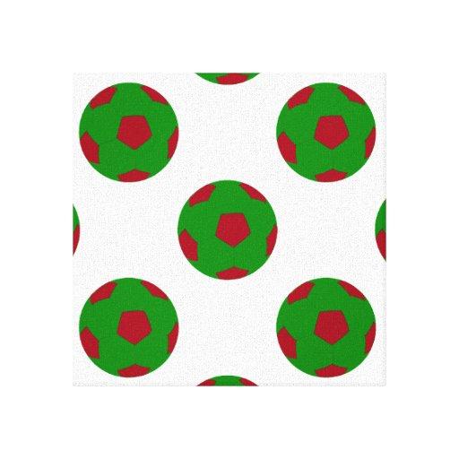 Modelo verde y rojo del balón de fútbol impresiones de lienzo