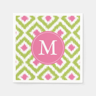 Modelo verde y rosado con monograma de los servilleta de papel