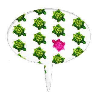 Modelo verde y rosado de la tortuga decoraciones para tartas