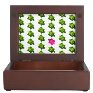 Modelo verde y rosado de la tortuga cajas de recuerdos