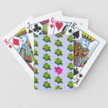 Modelo verde y rosado de la tortuga barajas de cartas