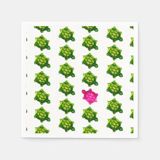 Modelo verde y rosado de la tortuga servilleta de papel