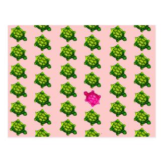 Modelo verde y rosado de la tortuga postal