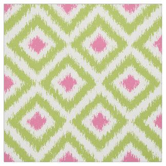 Modelo verde y rosado del gran escala de Ikat de Telas