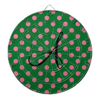 Modelo verde y rosado del monograma de lunares tablero de dardos