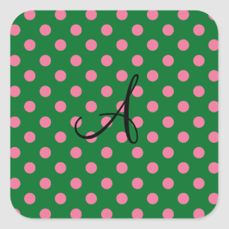 Modelo verde y rosado del monograma de lunares pegatina cuadrada