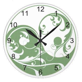 Modelo verde y Yin blanco y Yang Reloj De Pared