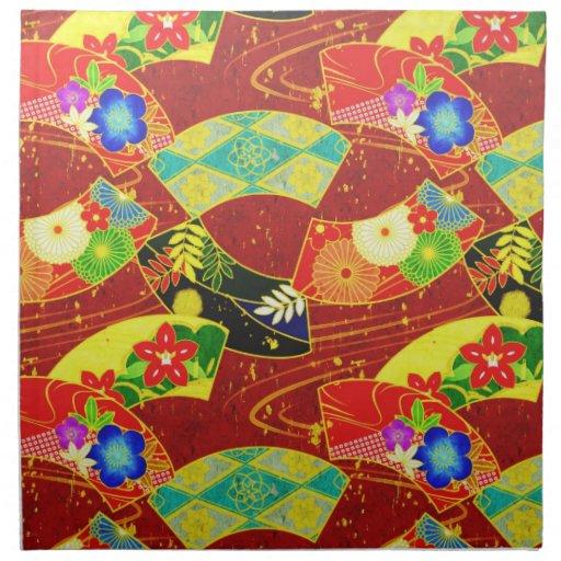 Modelo vibrante abstracto japonés oriental fresco servilleta de papel
