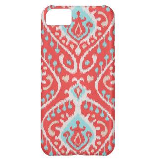 Modelo vibrante del ikat en rojo y turquesa funda para iPhone 5C