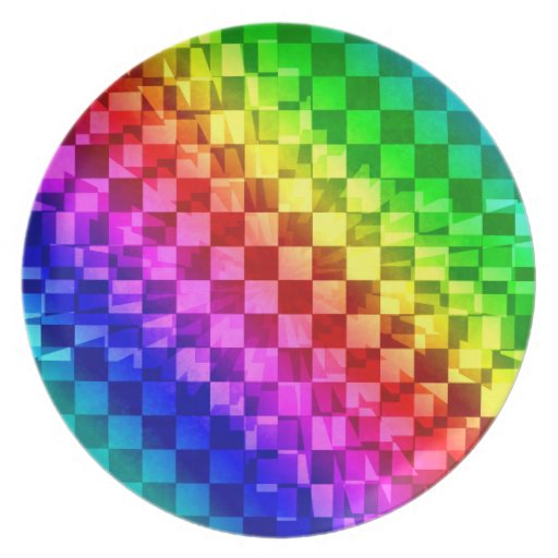 Modelo vibrante del tablero de damas del arco iris plato de cena