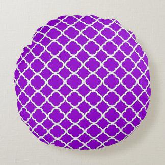Modelo violeta oscuro elegante de Quatrefoil Cojín Redondo