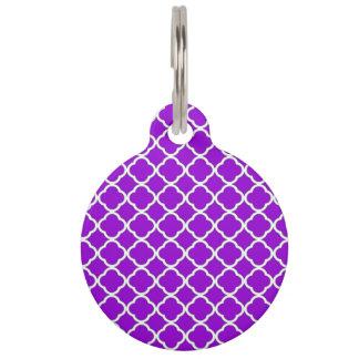 Modelo violeta oscuro elegante de Quatrefoil Placa De Mascota