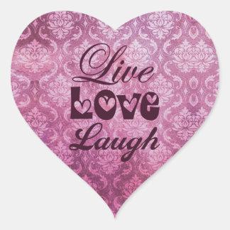 Modelo vivo del damasco del rosa de la risa del calcomanías de corazones