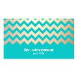 Modelo y azules turquesas de zigzag del oro tarjeta de negocio